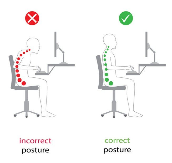 Bad Seated Posture vs Good Seated Posture